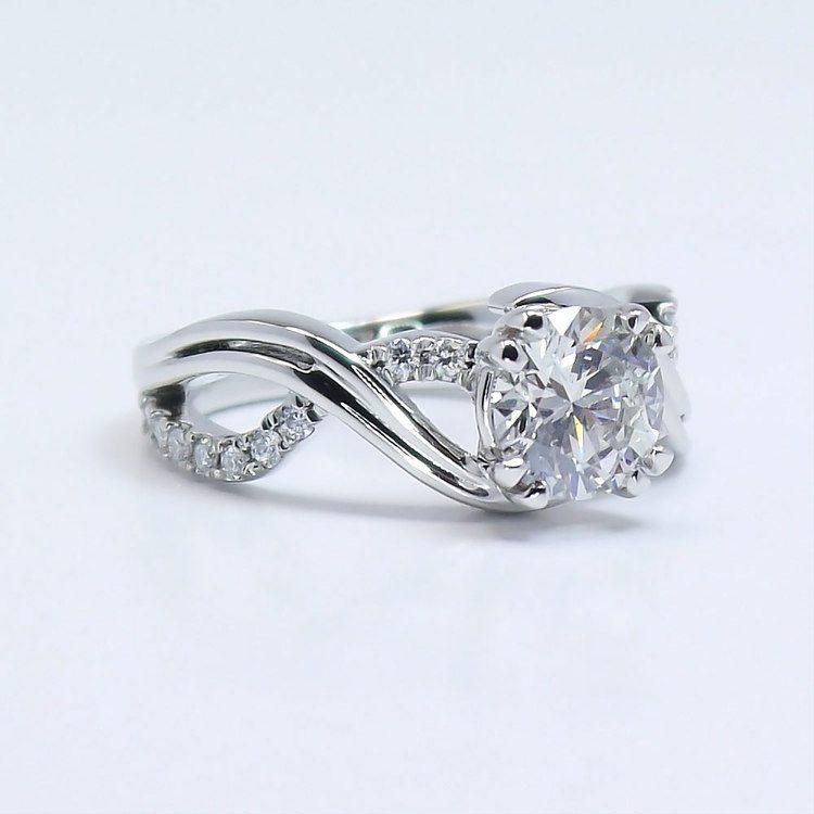 Twisted Split Shank 1 Carat Diamond Engagement Ring angle 3