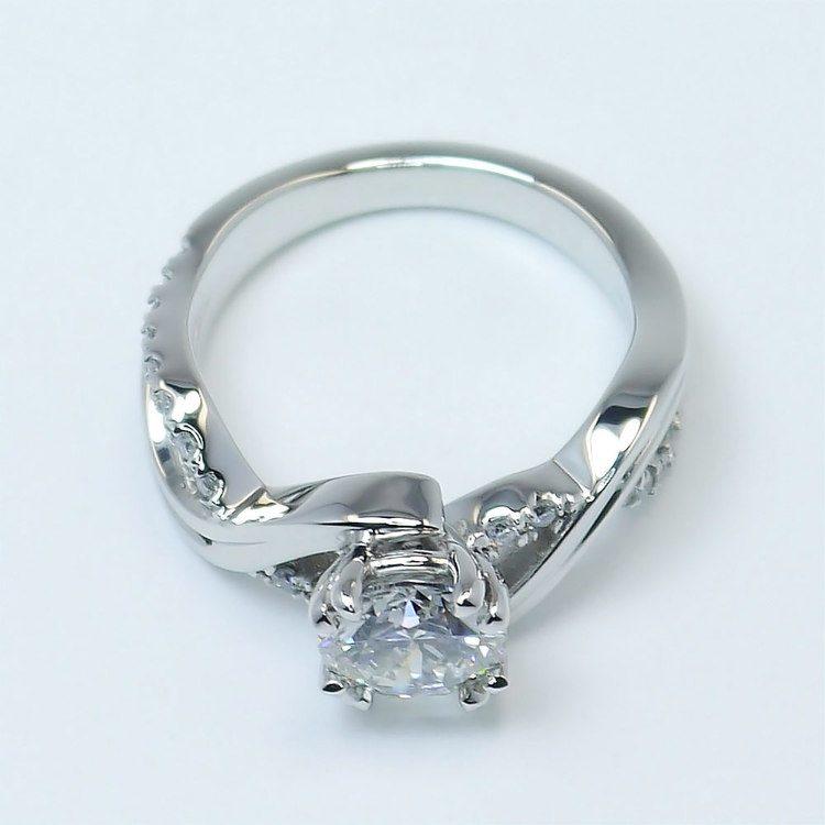 Twisted Split Shank 1 Carat Diamond Engagement Ring angle 4