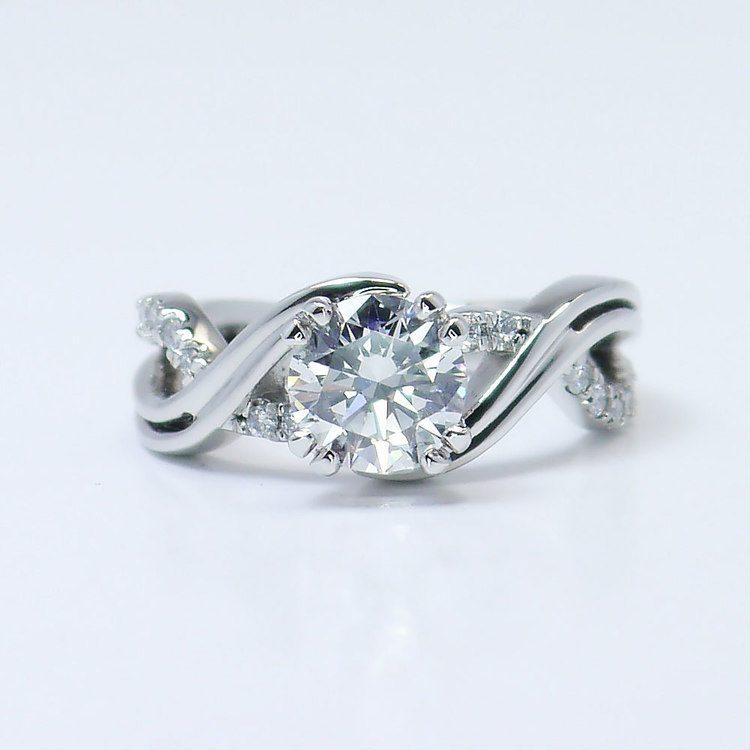 Twisted Split Shank 1 Carat Diamond Engagement Ring