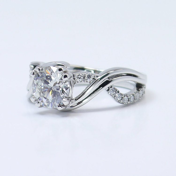 Twisted Split Shank 1 Carat Diamond Engagement Ring angle 2