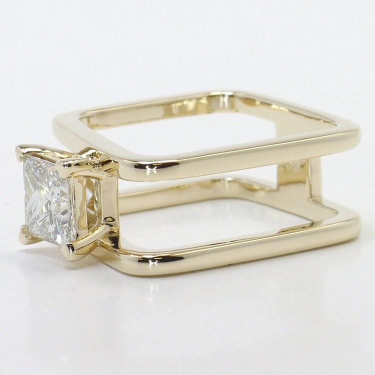 Modern Custom Split Shank 1.60 Carat Princess Diamond Engagement Ring angle 2