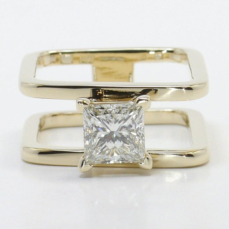 Modern Custom Split Shank 1.60 Carat Princess Diamond Engagement Ring