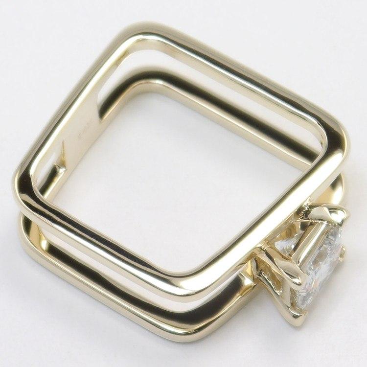 Modern Custom Split Shank 1.60 Carat Princess Diamond Engagement Ring angle 3