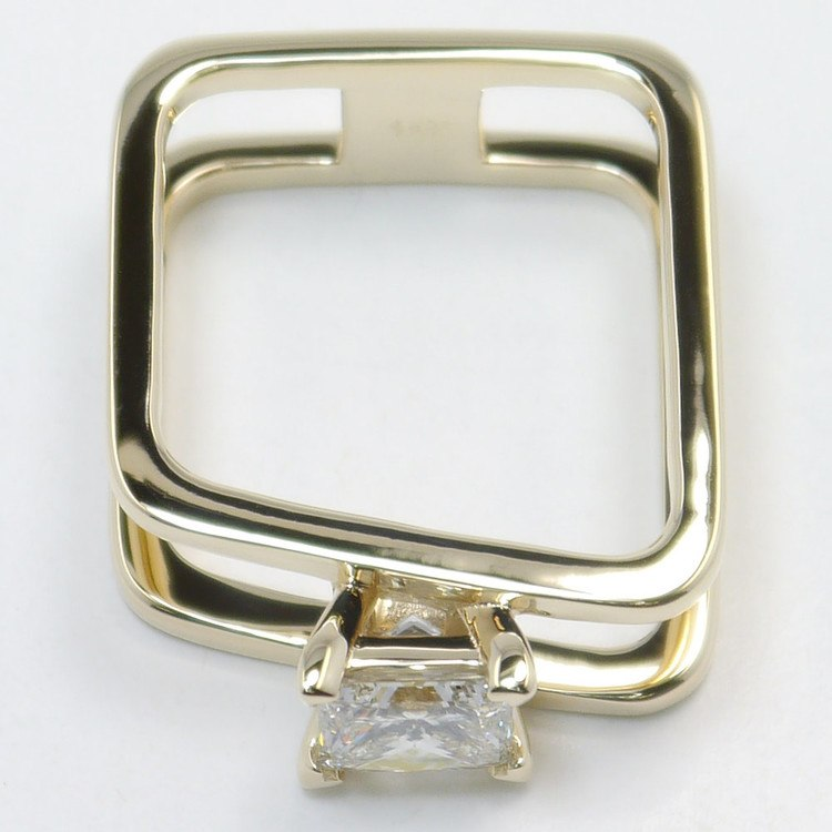 Modern Custom Split Shank 1.60 Carat Princess Diamond Engagement Ring angle 4