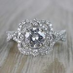 Moissanite Gemstone Delicate Double Halo Diamond Engagement Ring - small