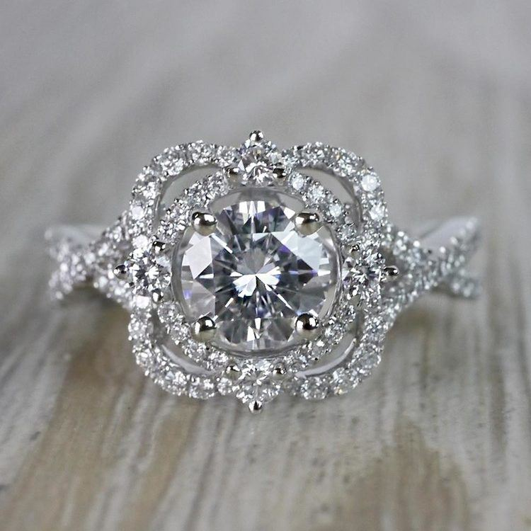 Moissanite Gemstone Delicate Double Halo Diamond Engagement Ring