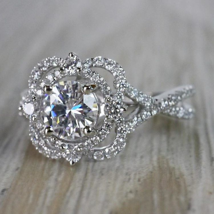 Moissanite Gemstone Delicate Double Halo Diamond Engagement Ring angle 2
