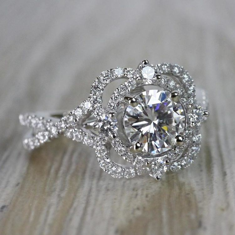 Moissanite Gemstone Delicate Double Halo Diamond Engagement Ring angle 3