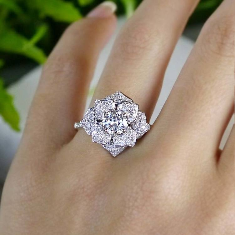 Moonlit Flower Engagement Ring by Parade | 06
