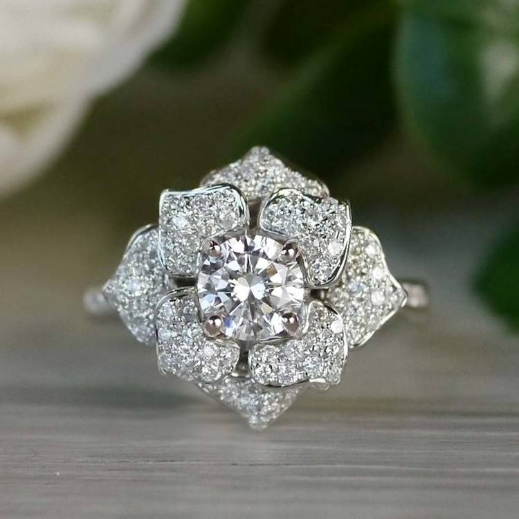 Moonlit Flower Engagement Ring by Parade angle 5