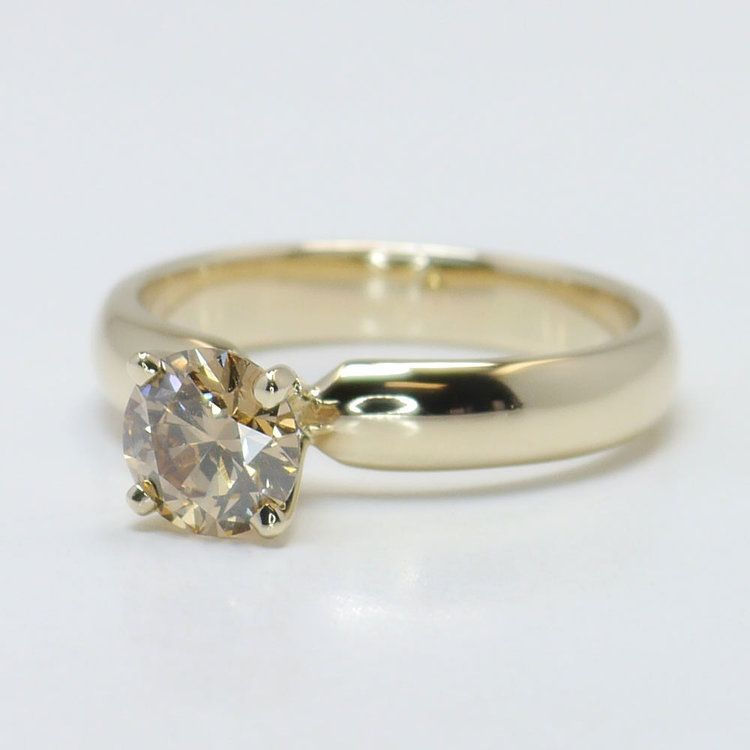 1 Carat Round Solitaire Fancy Brown Diamond Engagement Ring angle 2