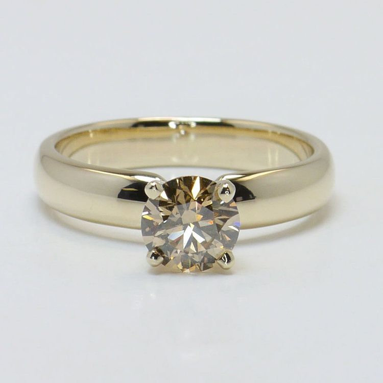 1 Carat Round Solitaire Fancy Brown Diamond Engagement Ring