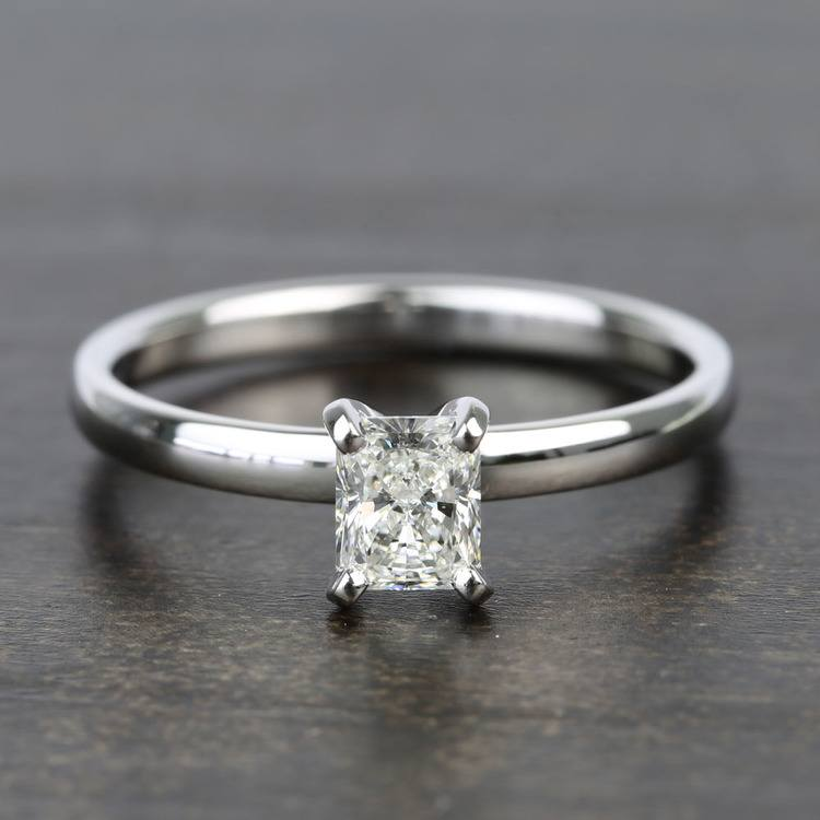 Near-Flawless 0.80 Carat Radiant Solitaire Diamond Engagement Ring