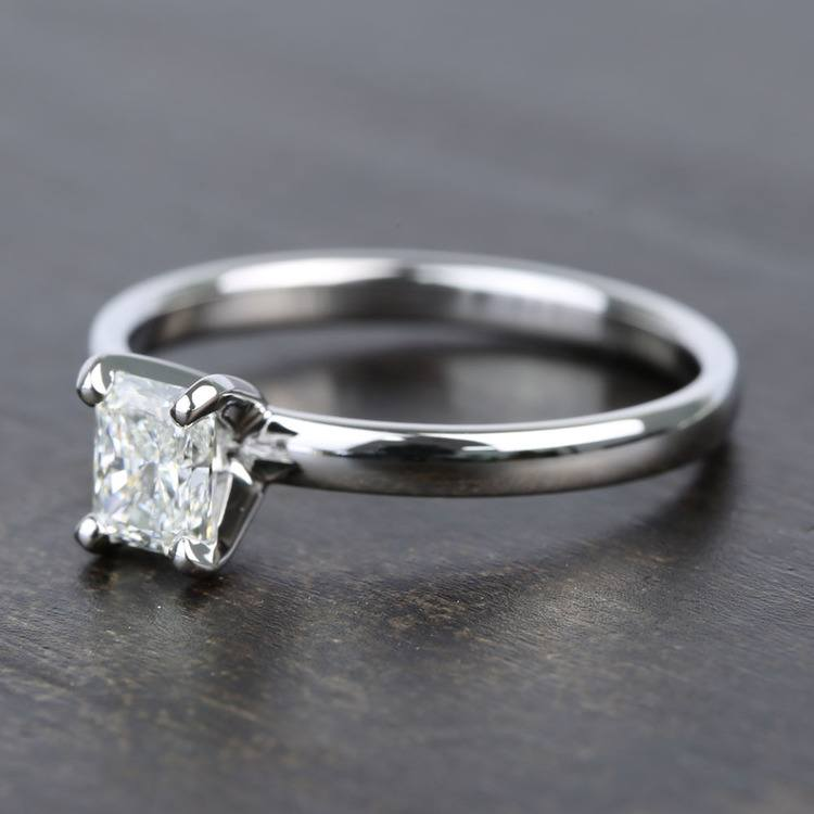 Near-Flawless 0.80 Carat Radiant Solitaire Diamond Engagement Ring angle 2