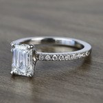 Near Flawless 1.51 Carat Emerald Petite Pave Diamond Engagement Ring - small angle 2