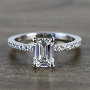 Near Flawless 1.51 Carat Emerald Petite Pave Diamond Engagement Ring