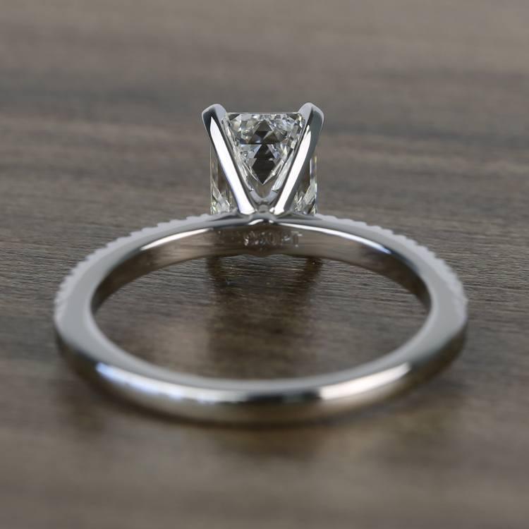 Near Flawless 1.51 Carat Emerald Petite Pave Diamond Engagement Ring angle 4
