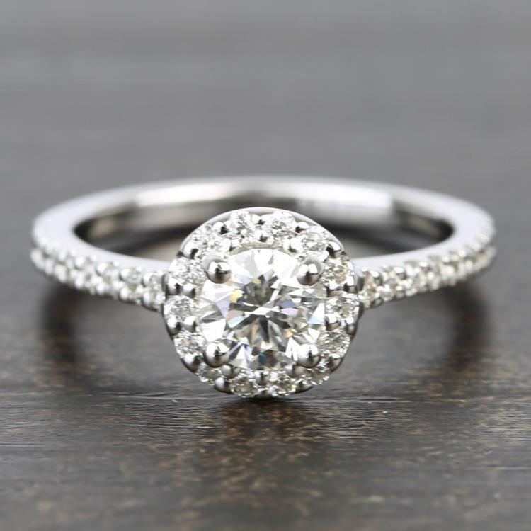 Near-Flawless Round Halo Diamond Engagement Ring (0.56 Carat)