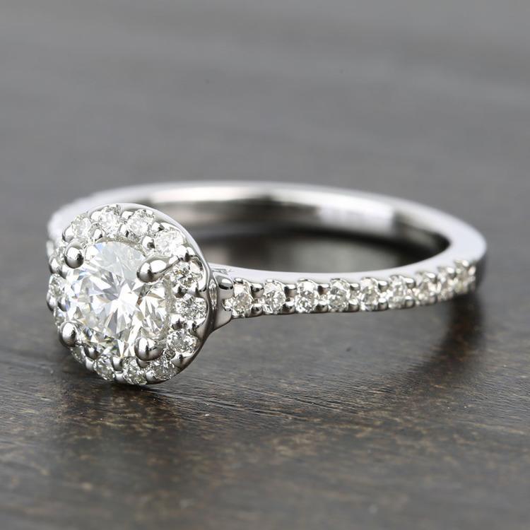 Near-Flawless Round Halo Diamond Engagement Ring (0.56 Carat) angle 2