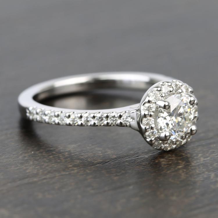 Near-Flawless Round Halo Diamond Engagement Ring (0.56 Carat) angle 3