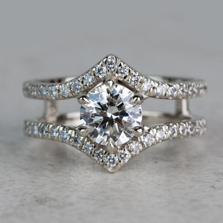 NEW! Art Nouveau Inspired White Gold Engagement Ring