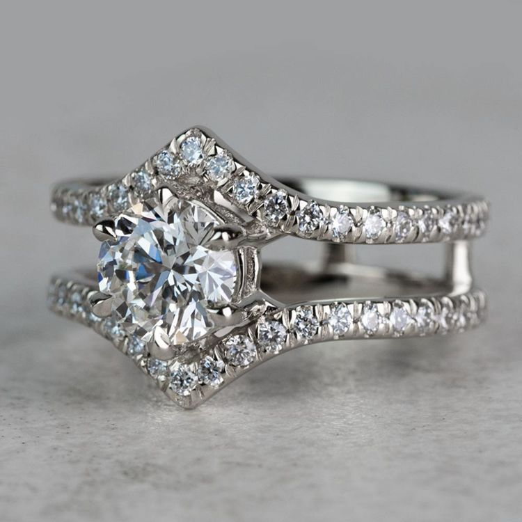 NEW! Art Nouveau Inspired White Gold Engagement Ring angle 2