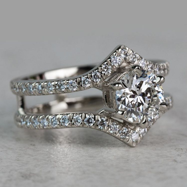 NEW! Art Nouveau Inspired White Gold Engagement Ring angle 3