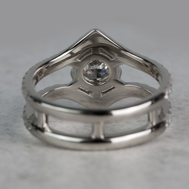 NEW! Art Nouveau Inspired White Gold Engagement Ring angle 4