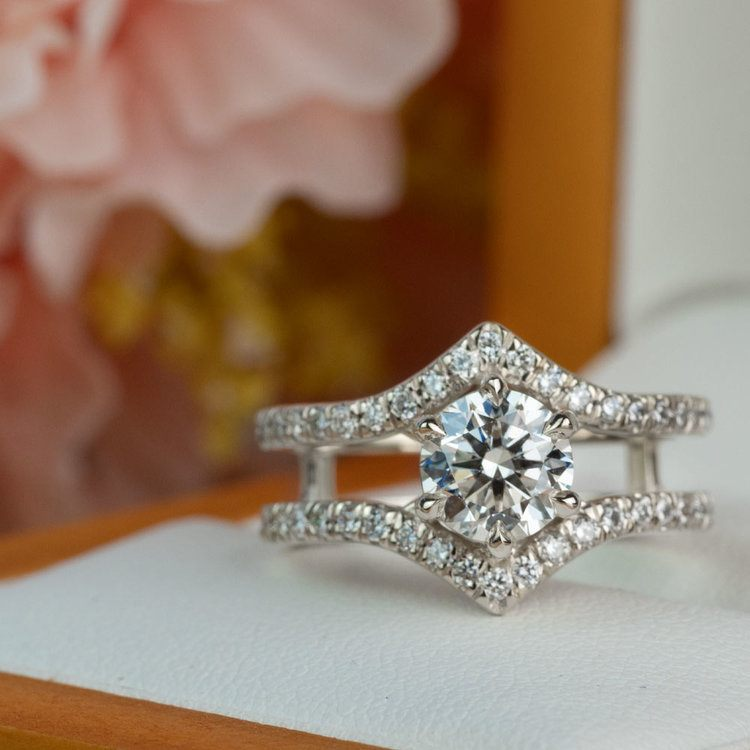 NEW! Art Nouveau Inspired White Gold Engagement Ring angle 5