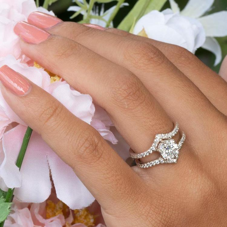 NEW! Art Nouveau Inspired White Gold Engagement Ring | 06