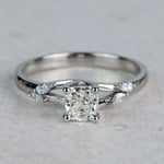 New! Cushion Diamond Leaf Inspired Engagement Ring - small
