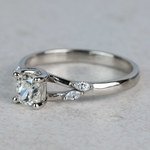 New! Cushion Diamond Leaf Inspired Engagement Ring - small angle 2