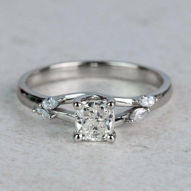 New! Cushion Diamond Leaf Inspired Engagement Ring
