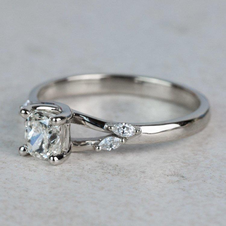 New! Cushion Diamond Leaf Inspired Engagement Ring angle 2