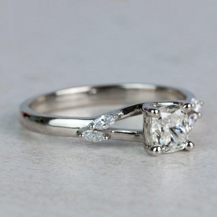 New! Cushion Diamond Leaf Inspired Engagement Ring angle 3