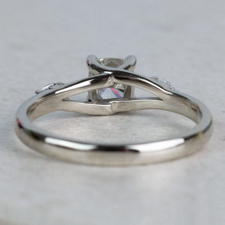New! Cushion Diamond Leaf Inspired Engagement Ring angle 4