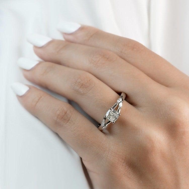 New! Cushion Diamond Leaf Inspired Engagement Ring angle 5