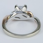 Two-Tone Brushed Leaf Diamond Engagement Ring - small angle 4
