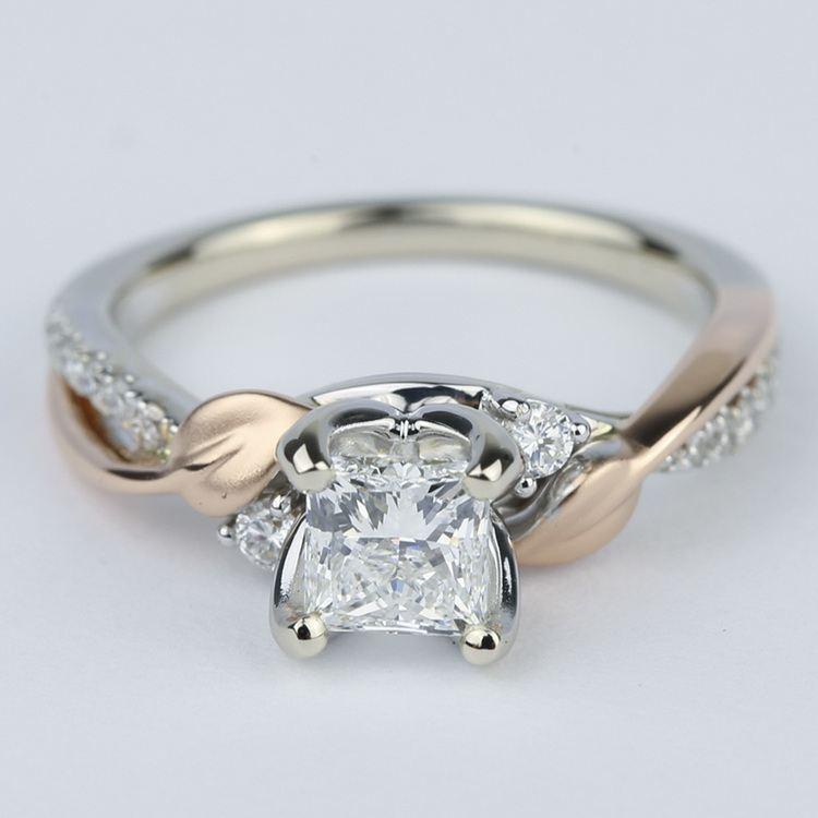 Two-Tone Brushed Leaf Diamond Engagement Ring