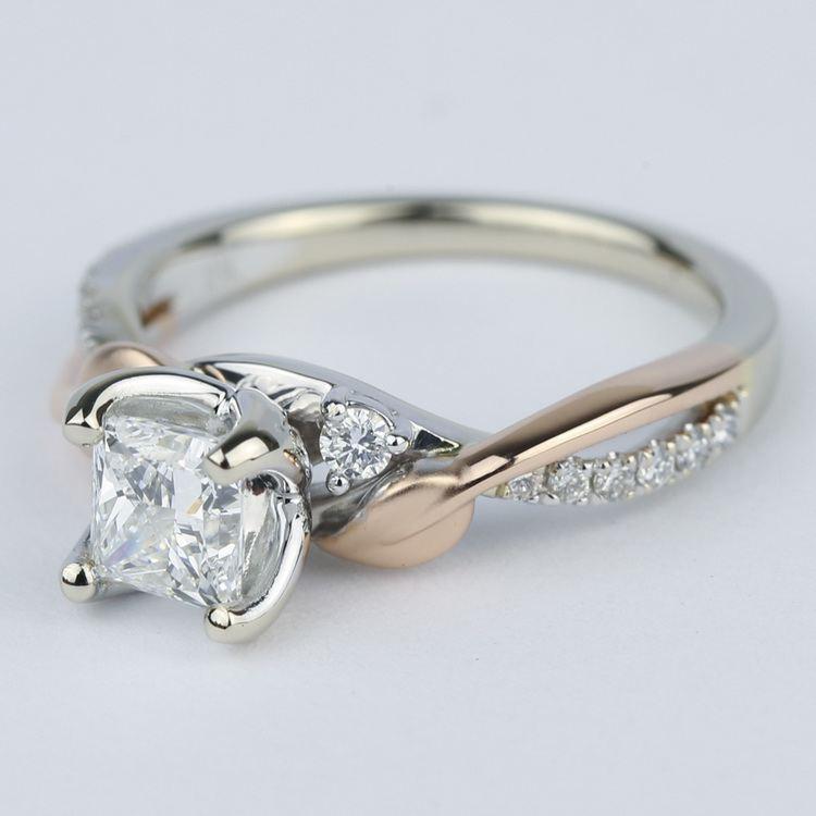 Two-Tone Brushed Leaf Diamond Engagement Ring angle 2