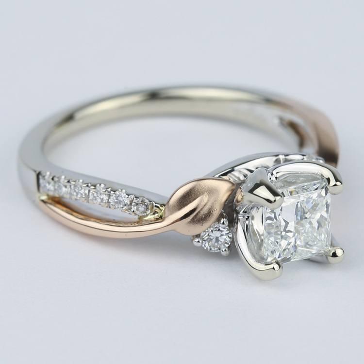 Two-Tone Brushed Leaf Diamond Engagement Ring angle 3