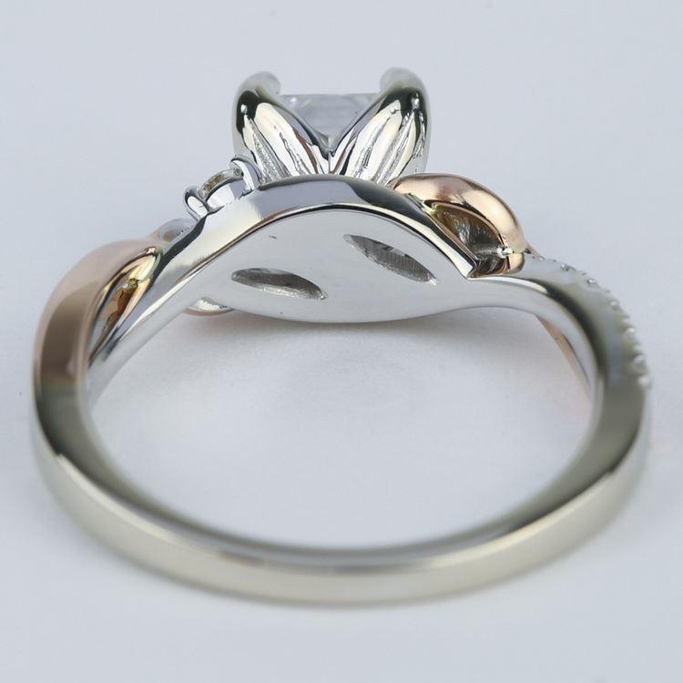 Two-Tone Brushed Leaf Diamond Engagement Ring angle 4