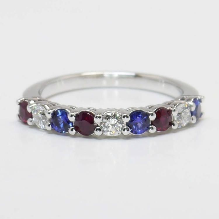 Red, White & Blue Diamond Gemstone Ring