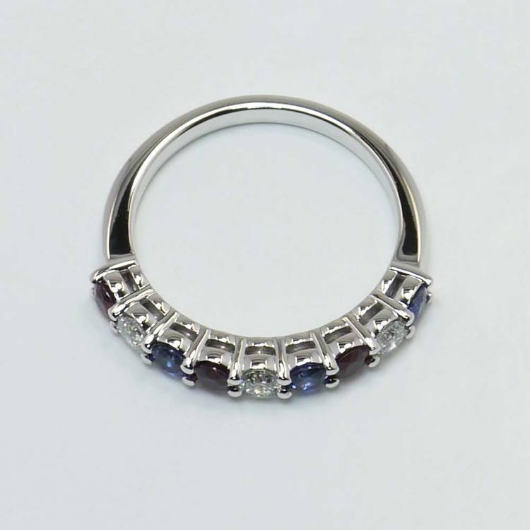 Red, White & Blue Diamond Gemstone Ring angle 2