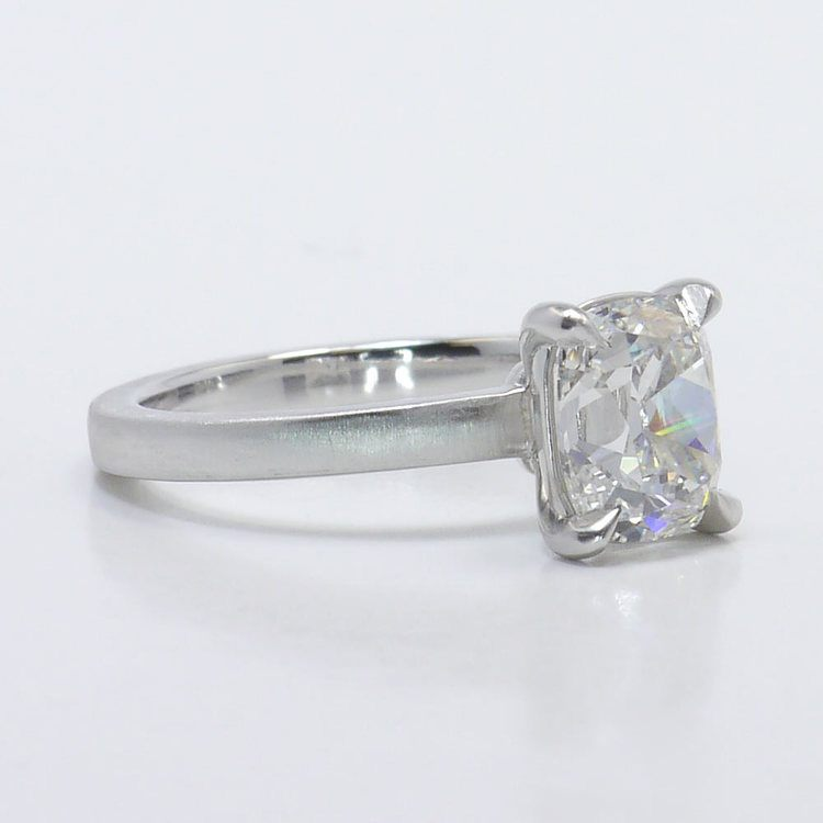 Old Mine Cut Diamond On A Satin Finish Engagement Ring angle 3