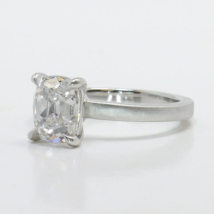 Old Mine Cut Diamond On A Satin Finish Engagement Ring angle 2