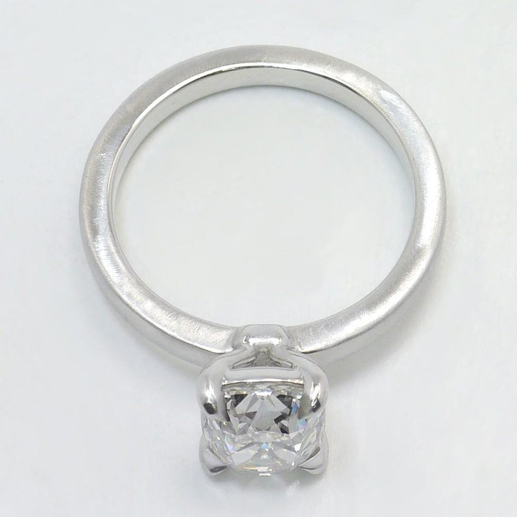 Old Mine Cut Diamond On A Satin Finish Engagement Ring angle 4