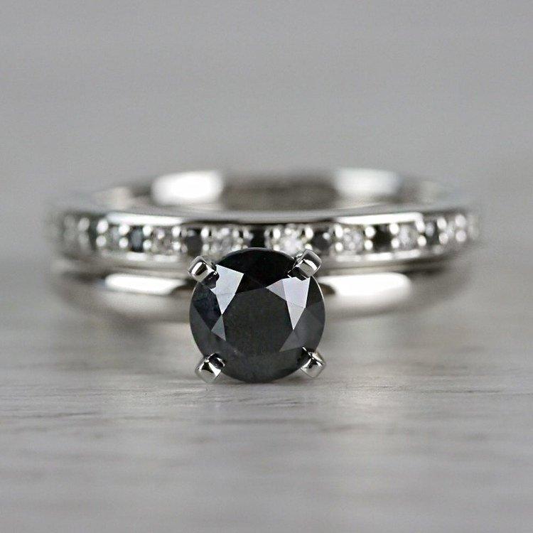 1 Carat Black Diamond Ring & Matching Black Diamond Pave Wedding Ring Set