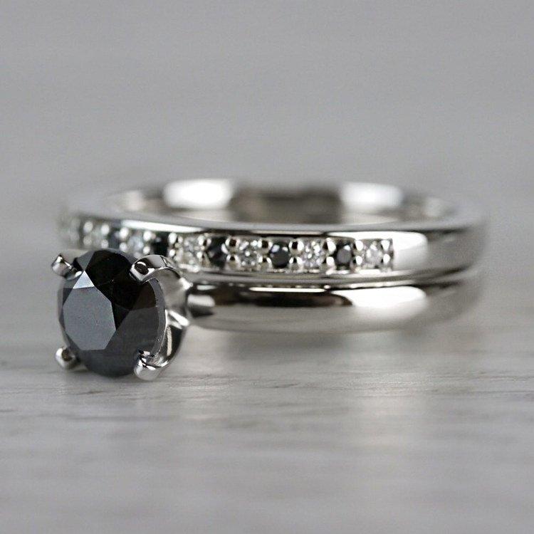1 Carat Black Diamond Ring & Matching Black Diamond Pave Wedding Ring Set angle 2