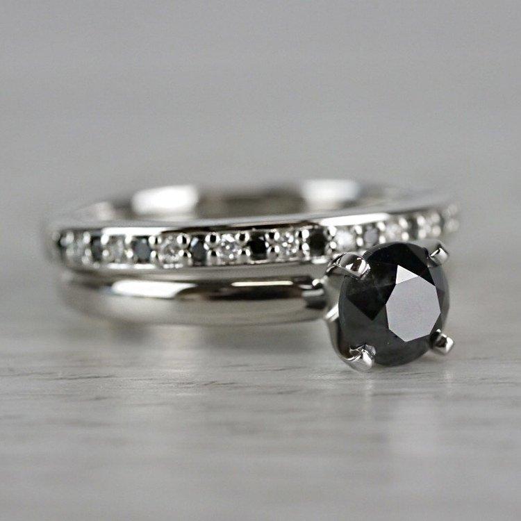 1 Carat Black Diamond Ring & Matching Black Diamond Pave Wedding Ring Set angle 3